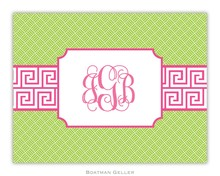 Preppy Personalized Stationery by Boatman Geller at Buggy Designs Pink and Green Greek Key