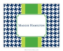 Personalized Foldover Note Cards by Boatman Geller - Alex Houndstooth Navy