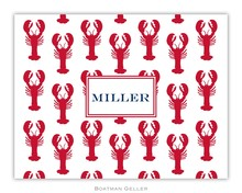 Personalized Foldover Note Cards by Boatman Geller - Lobsters Red