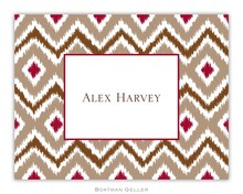 Personalized Foldover Note Cards by Boatman Geller - Ikat Tan