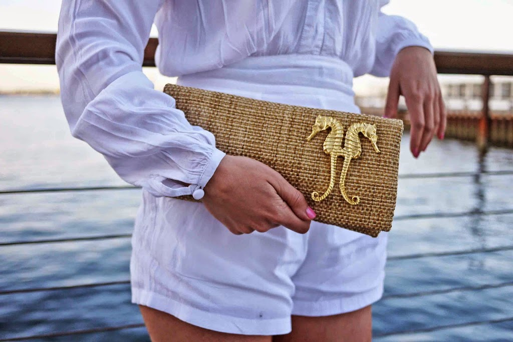Accessorizing a Romper and Seahorse clutch