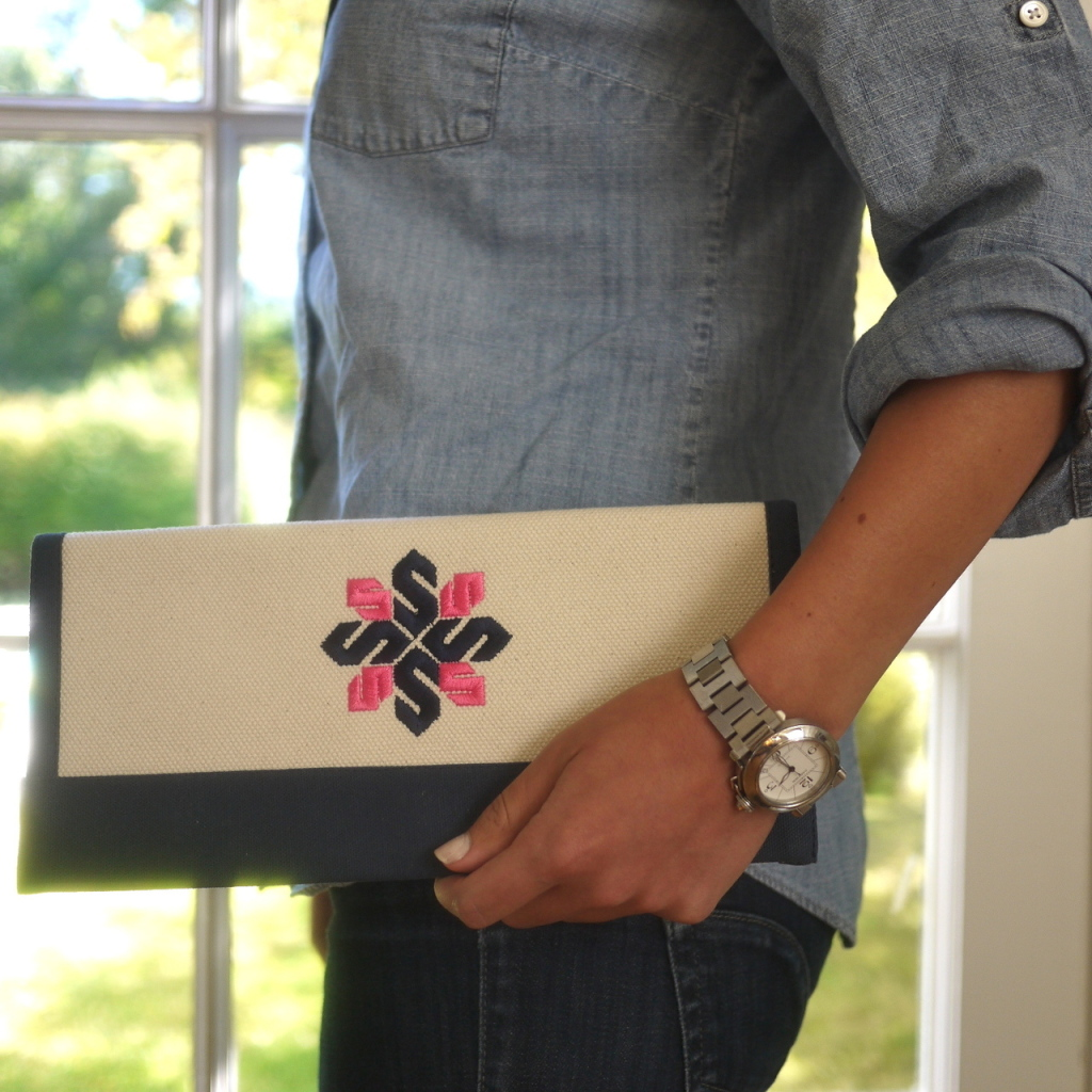 Border Monogram Clutch