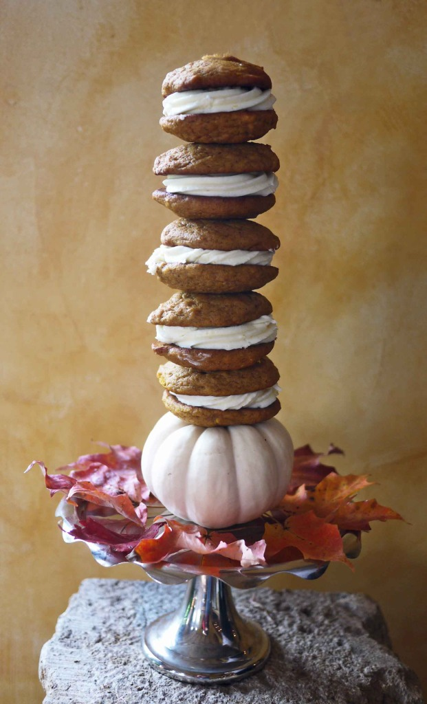 Pumpkin Whoopie Pie with Cream Cheese Frosting Tower
