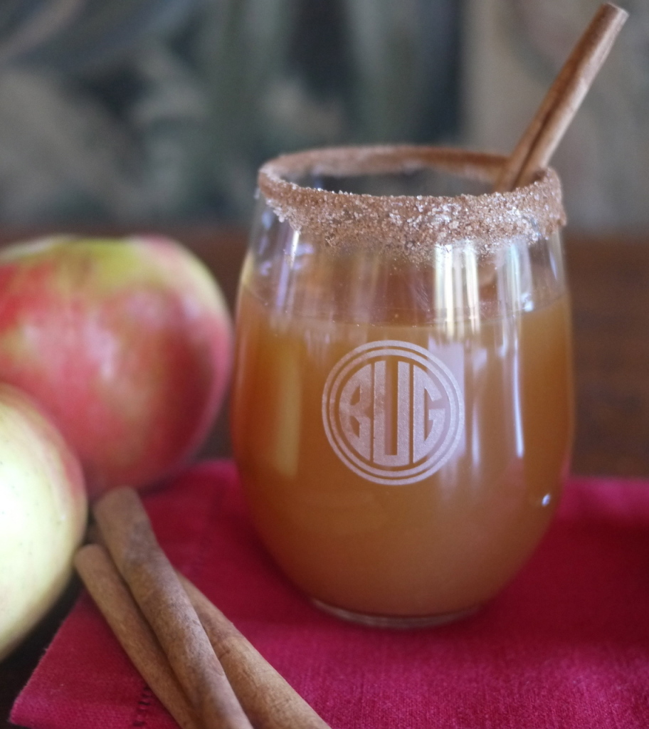 New England Apple Cider and Bourbon Cocktail Recipe in Monogram Stemless Wine Glass
