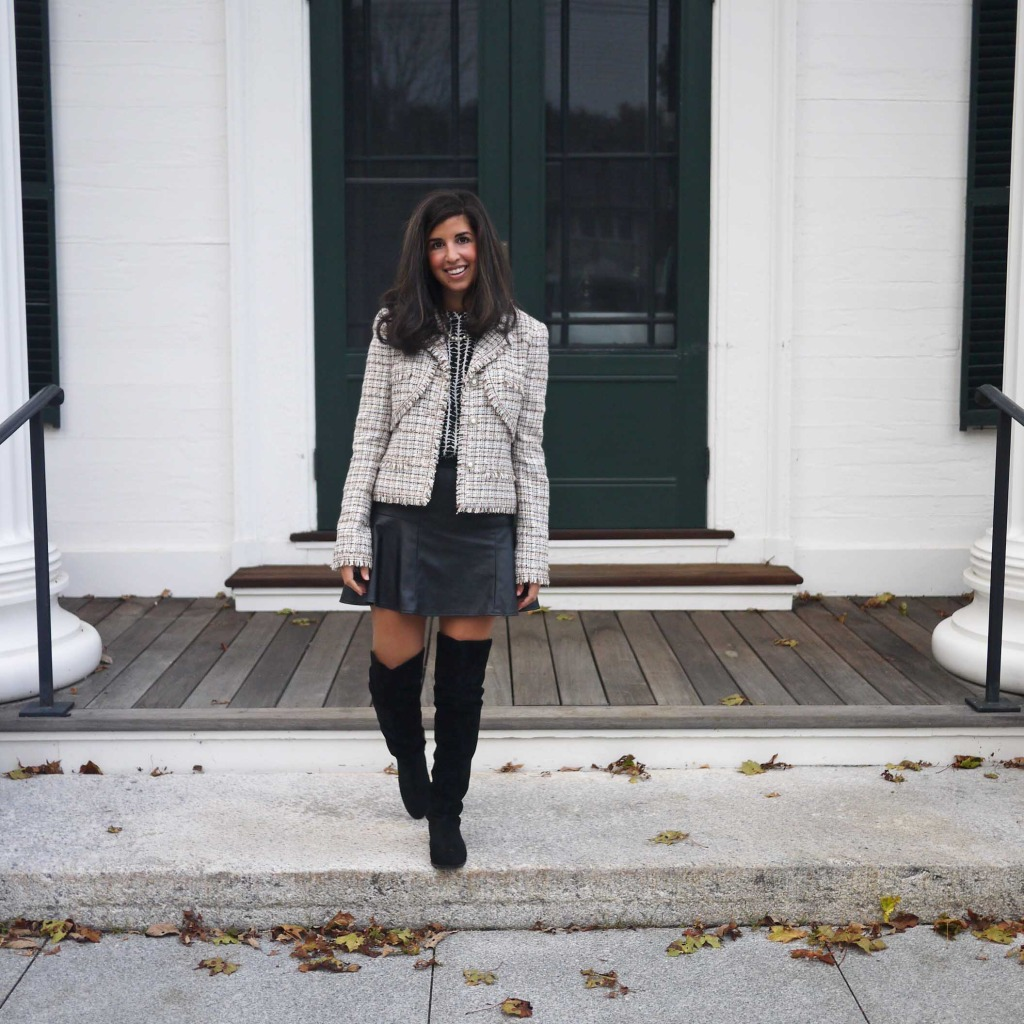 Modern way to wear a Chanel Tweed Jacket with Over the Knee boots