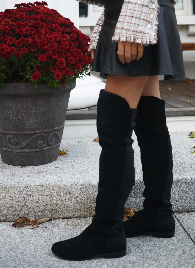 Affordable Over the knee boots in black suede