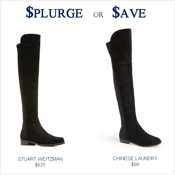 Stuart Weitzman 5050 boot versus affordable over the knee boots