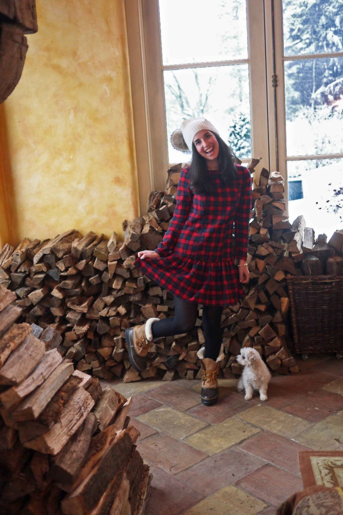 plaid dress and fur pompom hat